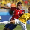 Photo - Brazil's Neymar, right, fights for the ball with Chile's Mauricio Isla during their World Cup round of 16 soccer match at Mineirao Stadium in Belo Horizonte, Brazil, Saturday, June 28, 2014. (AP Photo/Frank Augstein)