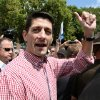 Republican Vice Presidential candidate, Rep. Paul Ryan, R-Wis., makes an appearance at the Iowa State Fair in Des Moines, Monday, Aug. 13, 2012. (AP Photo/Robert Ray)