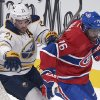 Montreal Canadiens\' P.K. Subban, right, skates past Buffalo Sabres\' Drew Stafford during first period NHL hockey action in Montreal, Saturday, Feb. 2, 2013. (AP Photo/The Canadian Press, Graham Hughes)