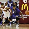 Kansas State Wildcat\'s Marcus Foster (2) pushes Oklahoma Sooner\'s Isaiah Cousins (11) as they try for a loose ball as the University of Oklahoma Sooner (OU) men play the Kansas State Wildcats (KS) in NCAA, college basketball at The Lloyd Noble Center on Saturday, Feb. 22, 2014 in Norman, Okla. Photo by Steve Sisney, The Oklahoman
