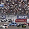 Ken Schrader (32), Kasey Kahne (5), David Stremme (30) and Ryan Newman make their way along the front stretch during the NASCAR Sprint Cup Series auto race, Sunday, March 10, 2013 in Las Vegas. (AP Photo/Julie Jacobson)