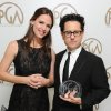 Photo - IMAGE DISTRIBUTED FOR THE PRODUCERS GUILD - Jennifer Garner, left, and J.J. Abrams pose backstage at the 24th Annual Producers Guild (PGA) Awards at the Beverly Hilton Hotel on Saturday Jan. 26, 2013, in Beverly Hills, Calif. (Photo by Jordan Strauss/Invision for Producers Guild/AP Images)