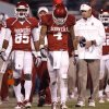 Oklahoma\'s Kenny Stills (4) hangs his head as he walks down the sideline in front of coach Bob Stoops and Oklahoma\'s Ryan Broyles (85) in the 41-38 loss during the college football game between the University of Oklahoma Sooners (OU) and Texas Tech University Red Raiders (TTU) at the Gaylord Family-Oklahoma Memorial Stadium on Sunday, Oct. 23, 2011. in Norman, Okla. Photo by Chris Landsberger, The Oklahoman
