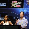 Comedian Jimmy Kimmel, right, reacts alongside fellow presenter Kerry Washington after