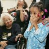 TELEVISION WATCH PARTY / REACTION: Civil rights pioneer Clara Luper, her daughter Marilyn Hildreth and 9-year-old Alexia Grant react to the inauguration of President Barack Obama. Luper was watching TV at the Freedom Center at NE 26th and Martin Luther King Avenue in Oklahoma City , Okla. January 20, 2009. BY STEVE GOOCH, THE OKLAHOMAN. ORG XMIT: KOD