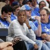 Rapper Jay-Z court side during a time out of Game 2 of the Western Conference semifinals in the NBA playoffs between the Oklahoma City Thunder and the Los Angeles Clippers at Chesapeake Energy Arena in Oklahoma City, Wednesday, May 7, 2014. Photo by Bryan Terry, The Oklahoman
