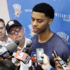 Photo - OKLAHOMA CITY THUNDER NBA BASKETBALL: New Thunder player Jeremy Lamb meets with media at the Integris Health Thunder Practice Facility in Oklahoma City, OK, Monday, October 29, 2012,  By Paul Hellstern, The Oklahoman
