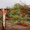 Fallen trees litter the yard of this home on SH 74F near Cashion after a tornado raced across Logan County Tuesday afternoon, May 24, 2011, The home\'s roof was pulled away and more than a dozen trees on the property were knocked down. Photo by Jim Beckel, The Oklahoman
