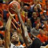 Oklahoma State\'s Kamari Murphy (21) shoots against Gonzaga\'s Sam Dower (35) during a men\'s college basketball game between Oklahoma State University (OSU) and Gonzaga at Gallagher-Iba Arena in Stillwater, Okla., Monday, Dec. 31, 2012. Photo by Nate Billings, The Oklahoman