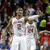 Oklahoma\'s Steven Pledger (2) gestures at the close of the second half as the University of Oklahoma Sooners (OU) defeat the Kansas Jayhawks (KU) 72-66 in NCAA, men\'s college basketball at The Lloyd Noble Center on Saturday, Feb. 9, 2013 in Norman, Okla. Photo by Steve Sisney, The Oklahoman