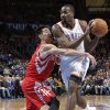 Houston\'s Jeremy Lin (7) defends on Oklahoma City \'s Kendrick Perkins (5) during the NBA basketball game between the Houston Rockets and the Oklahoma City Thunder at the Chesapeake Energy Arena on Wednesday, Nov. 28, 2012, in Oklahoma City, Okla. Photo by Chris Landsberger, The Oklahoman