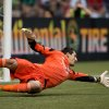 Seattle Sounders\' goalkeeper Michael Gspurning, of Austria, allows a goal to Vancouver Whitecaps\' Kenny Miller, of Scotland, during the first half of an MLS soccer match in Vancouver, British Columbia, on Saturday, July 6, 2013. (AP Photo/The Canadian Press, Darryl Dyck)