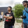 Photo -  Priyam Goswami-Chaudhury, 20, from India, left, talks with Jiillure Rahim, 23, from Bangladesh, outside the Oklahoma City National Memorial and Museum on May 31, 2013. Photo by Aliki Dyer, The Oklahoman