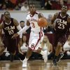 Oklahoma\'s Buddy Hield (3) runs the ball downcourt from Louisiana\'s Amos Olatayo (10) and Millaun Brown (23) during a men\'s college basketball game between the University of Oklahoma and the University of Louisiana-Monroe at the Loyd Noble Center in Norman, Okla., Sunday, Nov. 11, 2012. Photo by Garett Fisbeck, The Oklahoman