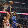 Oklahoma City Thunder forward Serge Ibaka (9) shoots over Chicago Bulls center Joakim Noah (13) during the first half of an NBA basketball game, Thursday, Nov. 8, 2012, in Chicago. (AP Photo/Charles Rex Arbogast)