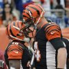 Cincinnati Bengals quarterback Andy Dalton (14) bumps helmets with wide receiver Andrew Hawkins after they connected on an 11-yard touchdown pass in the first half of an NFL football game against the New York Giants, Sunday, Nov. 11, 2012, in Cincinnati. (AP Photo/Michael Keating)