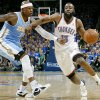 Oklahoma City\'s James Harden gets past Denver\'s Al Harrington during the first round NBA Playoff basketball game between the Thunder and the Nuggets at OKC Arena in downtown Oklahoma City on Wednesday, April 20, 2011. The Thunder beat the Nuggets 106-89 and lead the series 2-0. Photo by John Clanton, The Oklahoman