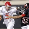 Carl Albert\'s Steven Thompson (3) runs past East Central\'s Warren Walker (13) during the Class 5A Oklahoma state championship football game between Carl Albert High School and Tulsa East Central High School at Boone Pickens Stadium on Saturday, Dec. 1, 2012, in Stillwater, Okla. Photo by Chris Landsberger, The Oklahoman