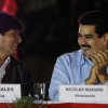 Venezuela\'s Vice President Nicolas Maduro, right, and Bolivia\'s President Evo Morales share a laugh during the 8th anniversary of ALBA group in Caracas, Venezuela, Saturday, Dec. 15, 2012. President Hugo Chavez has been receiving daily visits from former Cuban leader Fidel Castro while recovering from cancer surgery in Cuba, a Venezuelan government official said Saturday night. (AP Photo/Fernando Llano)