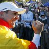 Europe\'s Sergio Garcia celebrates after winning the Ryder Cup PGA golf tournament Sunday, Sept. 30, 2012, at the Medinah Country Club in Medinah, Ill. (AP Photo/Charles Rex Arbogast) ORG XMIT: PGA213