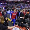 Los Angeles Clippers forward Blake Griffin comes onto the court before Game 5 of the Clippers\' opening-round NBA basketball playoff series against the Golden State Warriors on Tuesday, April 29, 2014, in Los Angeles. (AP Photo)
