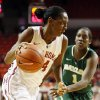 Oklahoma\'s Sharane Campbell (24) drives against Baylor\'s Kimetria Hayden (1) during a women\'s college basketball game between the University of Oklahoma and Baylor at the Lloyd Noble Center in Norman, Okla., Monday, Feb. 25, 2013. Baylor beat OU, 86-64. Photo by Nate Billings, The Oklahoman