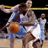 Oklahoma City\'s Kendrick Perkins (5) tries to get past Denver\'s Kosta Koufos (41) during the NBA basketball game between the Oklahoma City Thunder and the Denver Nuggets at Chesapeake Energy Arena in Oklahoma City, Wednesday, April 25, 2012. Oklahoma City lost 106-101. Photo by Bryan Terry, The Oklahoman