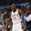 Oklahoma City\'s Kevin Durant (35) reacts during the NBA basketball game between the Oklahoma City Thunder and the Los Angeles at the Oklahoma City Arena, Wednesday, April 6, 2011. Photo by Bryan Terry, The Oklahoman