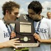 Edmond North players Clay Collier, left, and Zac Medawattage kiss the championship trophy after winning the Class 6A boys state soccer championship game between Edmond North and Norman North on Saturday, May 11, 2013 in Noble, Okla. Photo by Steve Sisney, The Oklahoman