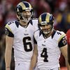 Photo -   St. Louis Rams kicker Greg Zuerlein (4) reacts after missing a 58-yard field goal with Johnny Hekker (6) during overtime of an NFL football game against the San Francisco 49ers in San Francisco, Sunday, Nov. 11, 2012. (AP Photo/Jeff Chiu)