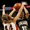 Tulsa Union High School\'s Carrington Fox (44) defends on Midwest City High School\'s Richa Jackson (15) during the girls class 6A semifinals game at the Ford Center on Friday, March 7, 2008, in Oklahoma City, Okla. BY CHRIS LANDSBERGER, THE OKLAHOMAN