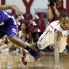 Oklahoma Sooners\' Jasmine Hartman (45) steals the ball from Northwestern State Lady Demons\' Markeisha Johnson (23) during the second half as the University of Oklahoma (OU) Sooner women\'s basketball team plays the Northwestern State Lady Demons at the Lloyd Noble Center on Thursday, Nov. 29, 2012 in Norman, Okla. Photo by Steve Sisney, The Oklahoman