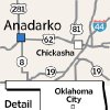 Photo - Anadarko MAP / GRAPHIC: Chickasha, Oklahoma City, Detail area, State highway 281, State highway 62, State highway 81, Highway 8, Highway 19, Interstate 44, I-44