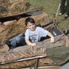 Eight year old Myles Campbell, from Oklahoma Christian Academy, opens up a duck blind during school day of the Oklahoma Wildlife Expo at the Lazy E Arena and Ranch in Guthrie, OK, Friday, September 28, 2012, By Paul Hellstern, The Oklahoman