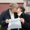 In this photo provided by Richard Wood, retired Army Col. Grethe Cammermeyer, left, kisses Diane Divelbess, her partner of 24 years, as they pose for photos after the two received their marriage license Thursday, Dec. 6, 2012, in Coupeville, Wash. Two retired military women who fought for the rights of gays in the military were among the hundreds of couples who received their marriage licenses this week as Washington state\'s voter-approved law allowing same-sex marriage took effect. Former Air Force flight nurse Maj. Margaret Witt, of Spokane, and Cammermeyer, of Whidbey Island, both successfully challenged the military\'s ban on open service by gays and lesbians. They were first in line on Thursday in their home counties to receive their licenses with their partners as the law took effect. (AP Photo/ kapchur.us photography, Richard Wood)