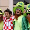 Photo -   Ireland and a Croatia fan party ahead of the group B match between Republic of Ireland and Croatia during the Euro 2012 soccer championship in Poznan, Poland, Sunday, June 10, 2012. (AP Photo/Peter Morrison)