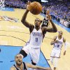 Oklahoma City\'s Serge Ibaka (9) goes up to block the shot of San Antonio\'s Tony Parker (9) during Game 3 of the Western Conference Finals in the NBA playoffs between the Oklahoma City Thunder and the San Antonio Spurs at Chesapeake Energy Arena in Oklahoma City, Sunday, May 25, 2014. Photo by Nate Billings, The Oklahoman