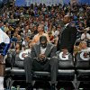 Oklahoma City\'s D.J. White sits on the bench during the NBA basketball game between the Oklahoma City Thunder and the Washington Wizards at the Ford Center in Oklahoma City, Wed., March 4, 2009. PHOTO BY BRYAN TERRY, THE OKLAHOMAN