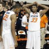 Oklahoma State \'s Marcus Smart (33) and Markel Brown (22) react after the 68-67 double overtime loss to Kansas during the college basketball game between the Oklahoma State University Cowboys (OSU) and the University of Kanas Jayhawks (KU) at Gallagher-Iba Arena on Wednesday, Feb. 20, 2013, in Stillwater, Okla. Photo by Chris Landsberger, The Oklahoman