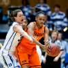 Duke\'s Haley Peters (33) and Oklahoma State\'s Kendra Suttles (31) fight for a loose ball during the first half in the women\'s NCAA Tournament at Cameron Indoor Stadium in Durham, North Carolina, Tuesday, March 26, 2013. (Greg Mintel/Raleigh News & Observer/MCT)