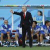 Photo - Switzerland's coach Ottmar Hitzfeld instructs his players from the sideline during the World Cup round of 16 soccer match between Argentina and Switzerland at the Itaquerao Stadium in Sao Paulo, Brazil, Tuesday, July 1, 2014. (AP Photo/Kirsty Wigglesworth)