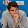 Switzerland\'s Roger Federer answers questions at a press conference following his loss to Britain\'s Andy Murray in their semifinal at the Australian Open tennis championship in Melbourne, Australia, Saturday, Jan. 26, 2013. (AP Photo/Andrew Brownbill)
