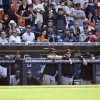 The San Francisco Giants watch from the dugout during the final inning of their 6-4 loss to the San Diego Padres in a baseball game in San Diego, Sunday, April 28, 2013. (AP Photo/Lenny Ignelzi)