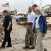 President Barack Obama walks towards Plaza Towers Elementary School in Moore, Okla.,with Moore Mayor Glenn Lewis, left, U.S. Rep Tom Cole, and Gov. Mary Fallin, Sunday, May 26, 2013. President Obama toured the area in Moore that was hit by a tornado on May, 20, 2013. Photo by Bryan Terry, The Oklahoman ORG XMIT: OKC1305261411038212