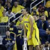 Michigan forward Mitch McGary yells from the sidelines during the second half of an NCAA college basketball game against Arizona in Ann Arbor, Mich., Saturday, Dec. 14, 2013. (AP Photo/Carlos Osorio)