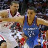 NBA BASKETBALL: Oklahoma City\'s Kevin Martin (23) goes past Houston\'s Francisco Garcia (32) during Game 3 in the first round of the NBA playoffs between the Oklahoma City Thunder and the Houston Rockets at the Toyota Center in Houston, Texas, Sat., April 27, 2013. Oklahoma City won 104-101. Photo by Bryan Terry, The Oklahoman
