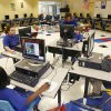 STUDENTS: Kids use computers in the newly constructed computer room at Telstar Elementary School in Oklahoma City, Okla., Thursday, November 10, 2006. The school is one of the recipients of