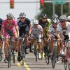 Riders in the Master Men\'s B race are bunched together as they begin the bicycle race during the Oklahoma City ProAm Classic, with races scheduled from 11 a.m. to 9 p.m. in Automobile Alley, just north of downtown Oklahoma City on Saturday, June 2, 2012, Photo by Jim Beckel, The Oklahoman