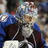 Photo - Colorado Avalanche goaltender Semyon Varlamov (1) reacts to a save during the second period of an NHL hockey game against the Columbus Blue Jackets, Thursday, Jan. 24, 2013, in Denver. (AP Photo/Jack Dempsey)