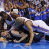 Memphis\' Marc Gasol (33) calls a time out as Oklahoma City\'s Serge Ibaka (9) and Derek Fisher (6) defend during Game 2 in the second round of the NBA playoffs between the Oklahoma City Thunder and the Memphis Grizzlies at Chesapeake Energy Arena in Oklahoma City, Tuesday, May 7, 2013. Oklahoma City lost 99-93. Photo by Bryan Terry, The Oklahoman
